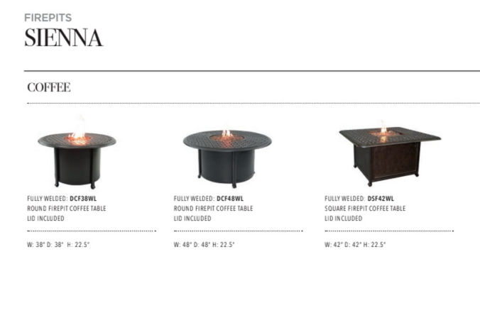 Patio Shop - Fireplace Center | Patio Accessories | Firepits | Pride-Castelle Sienna Firepits