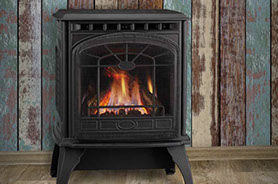 Patio Shop - Fireplace Center | Fireplaces | Quadra-Fire Fireplace Products | Garnet Gas Fireplace Stove